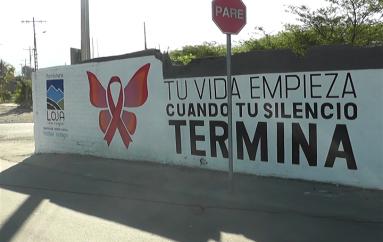 """(Video) Campañana """"Tu vida empieza cuando tu silencio termina"""" fue plasmada en mural."""