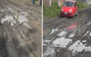(Video) Calles del barrio Divino Niño intransitables por lluvias, moradores piden solución.