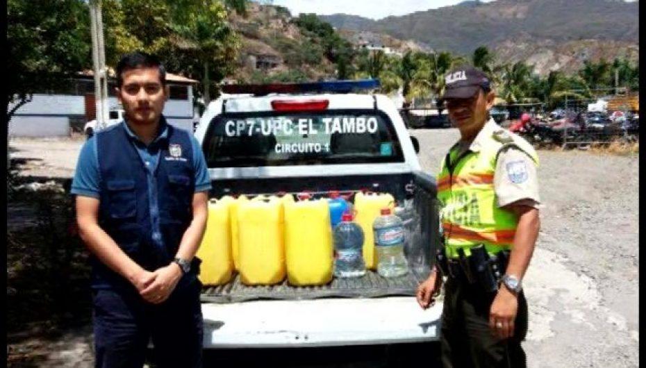 (Video) Autoridades incautan 250 litros de alcohol artesanal en la Parroquia de El Tambo.