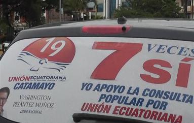 (Video) Movimiento Unión Ecuatoriana trabaja en la campaña por la consulta popular.
