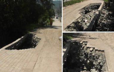 (Video) Socavón en ciclo vía al lado de puente de la quebrada Trapichillo genera malestar en transeúntes