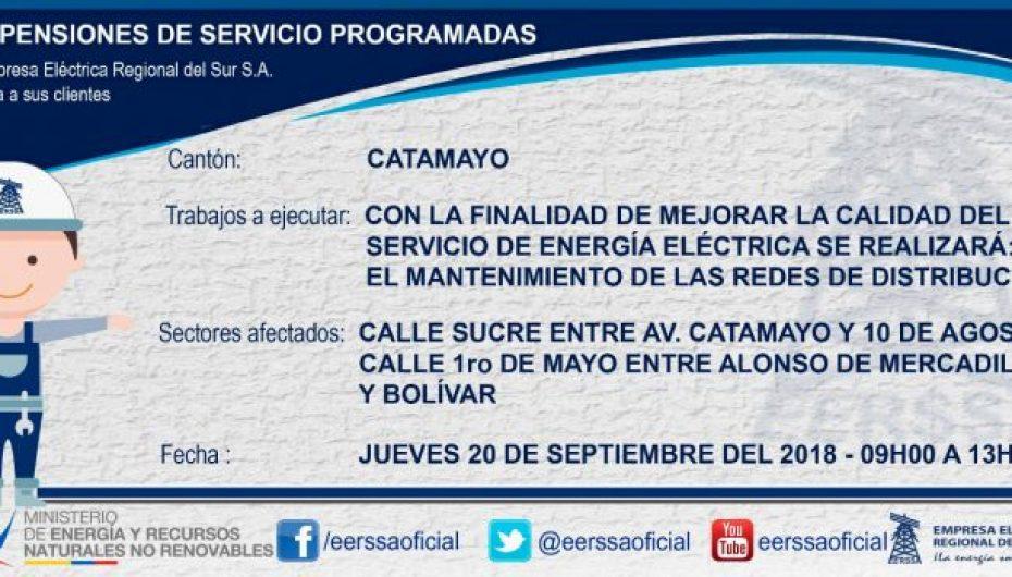 (Video) EERSSA suspenderá el servicio por trabajos en cierto sector de Catamayo.