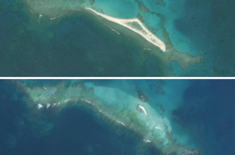 La fuerza de un huracán borró del mapa una isla de Hawai.